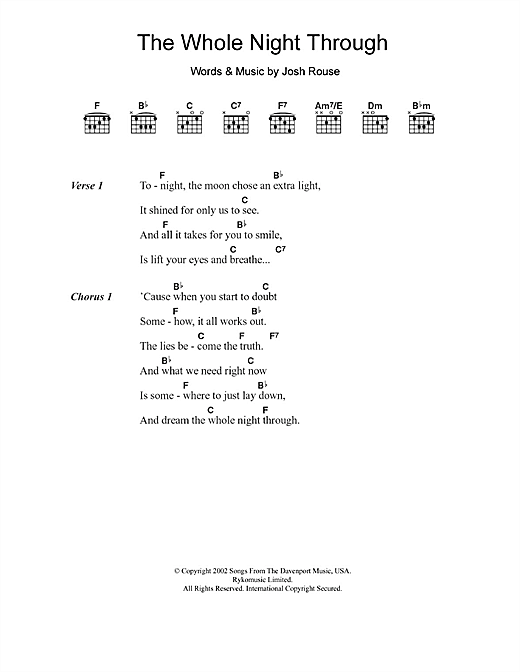 Josh Rouse The Whole Night Through sheet music notes and chords. Download Printable PDF.