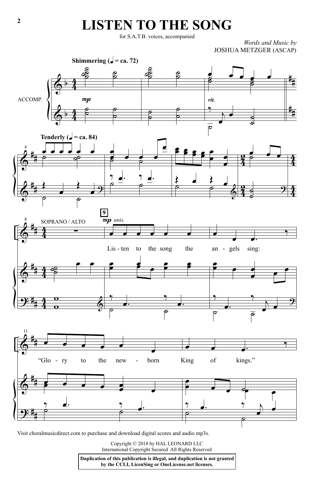 Joshua Metzger Listen To The Song sheet music notes and chords. Download Printable PDF.