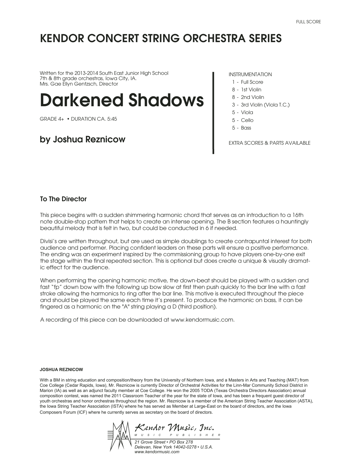 Joshue Reznicow Darkened Shadows - Full Score sheet music notes and chords. Download Printable PDF.