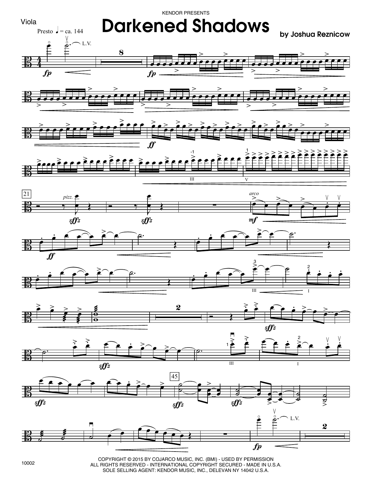 Joshue Reznicow Darkened Shadows - Viola sheet music notes and chords. Download Printable PDF.