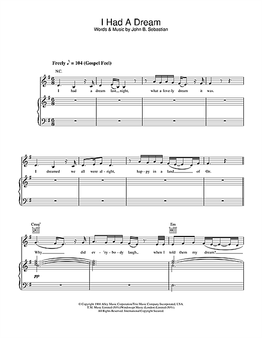 Joss Stone I Had A Dream sheet music notes and chords