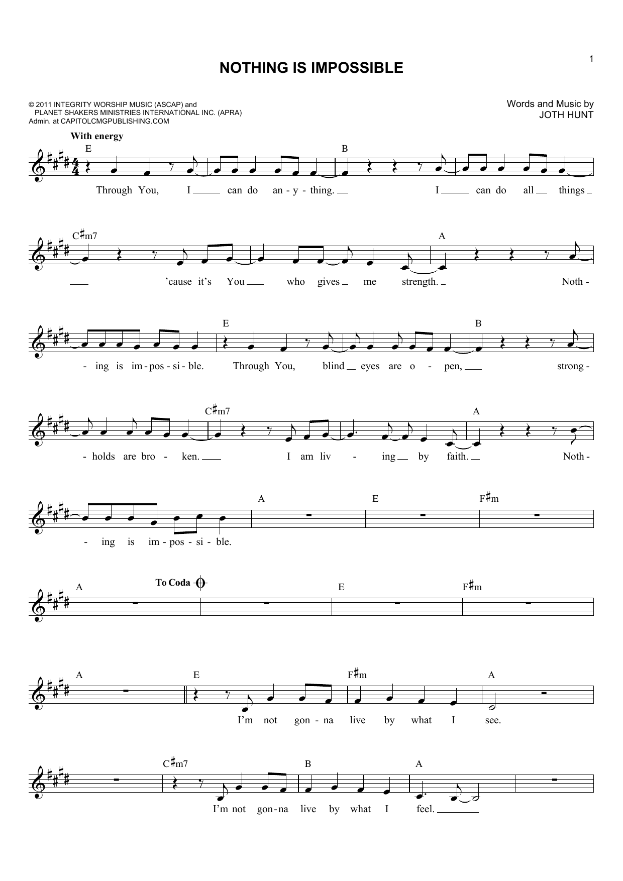 Joth Hunt Nothing Is Impossible Sheet Music Notes, Chords   Download  Printable Lead Sheet / Fake Book PDF Score   SKU 15