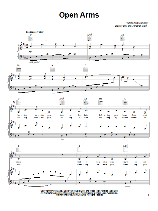 Journey Open Arms sheet music notes and chords. Download Printable PDF.