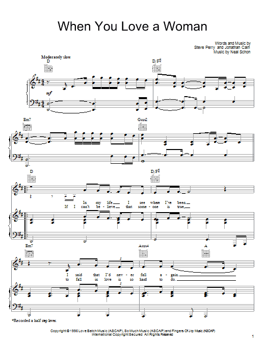 Journey When You Love A Woman sheet music notes and chords. Download Printable PDF.