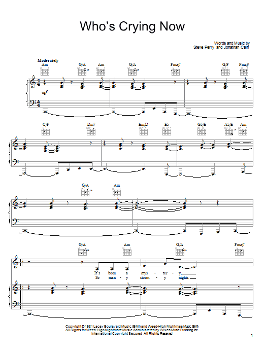 Journey Who's Crying Now sheet music notes and chords. Download Printable PDF.