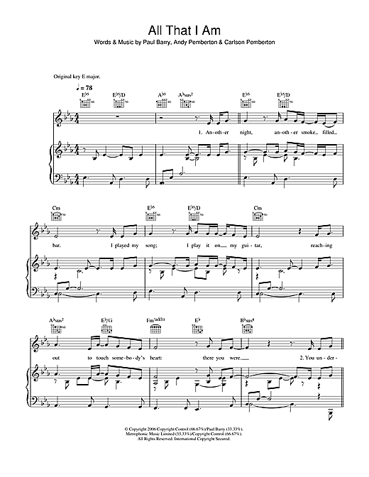 Journey South All That I Am sheet music notes and chords. Download Printable PDF.