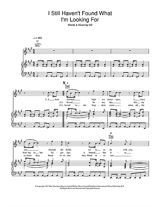 Journey South I Still Haven't Found What I'm Looking For sheet music notes and chords. Download Printable PDF.