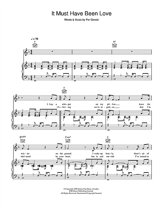 Journey South It Must Have Been Love sheet music notes and chords. Download Printable PDF.