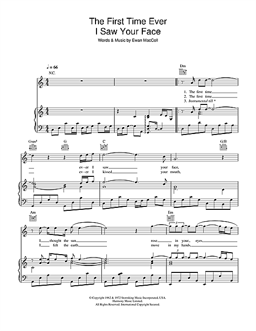 Journey South The First Time Ever I Saw Your Face sheet music notes and chords. Download Printable PDF.