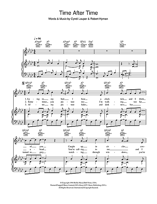 Journey South Time After Time sheet music notes and chords. Download Printable PDF.