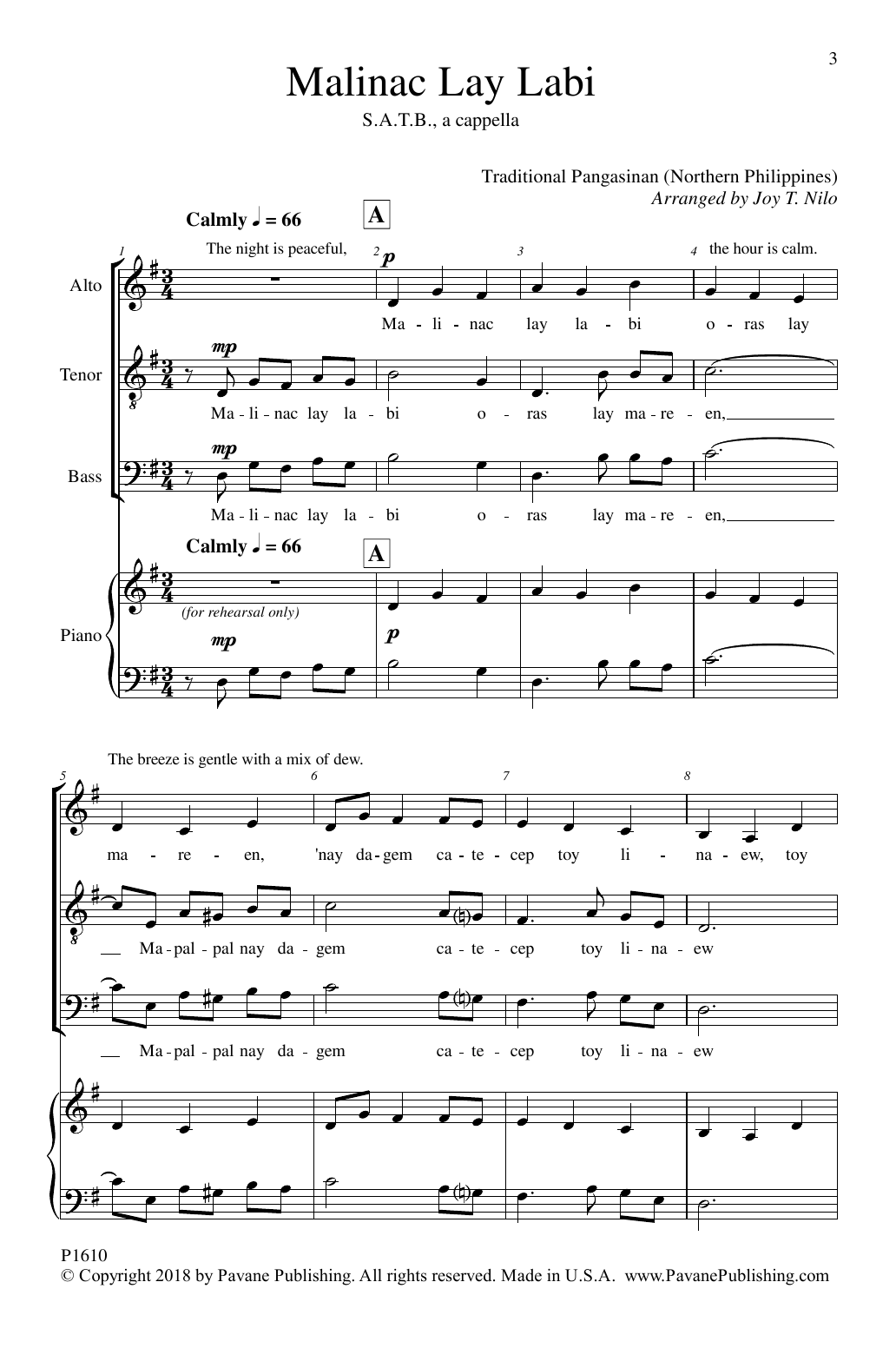 Joy T. Nilo Malinac Lay Labi sheet music notes and chords. Download Printable PDF.