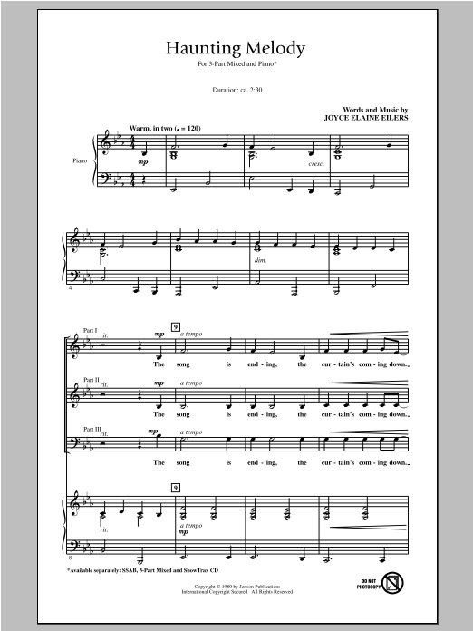 Joyce Eilers Haunting Melody sheet music notes and chords