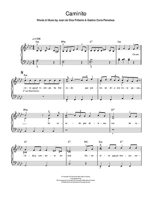 Juan de Dios Filiberto Caminito (The Little Lane) sheet music notes and chords. Download Printable PDF.