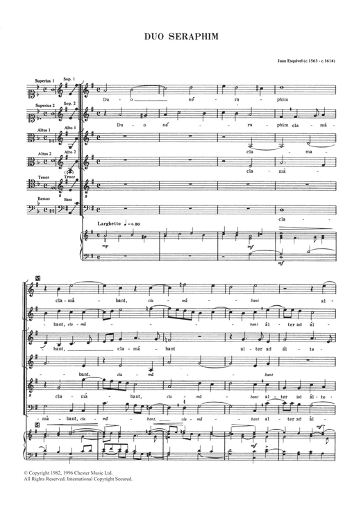 Juan Esquivel Duo Seraphim sheet music notes and chords. Download Printable PDF.