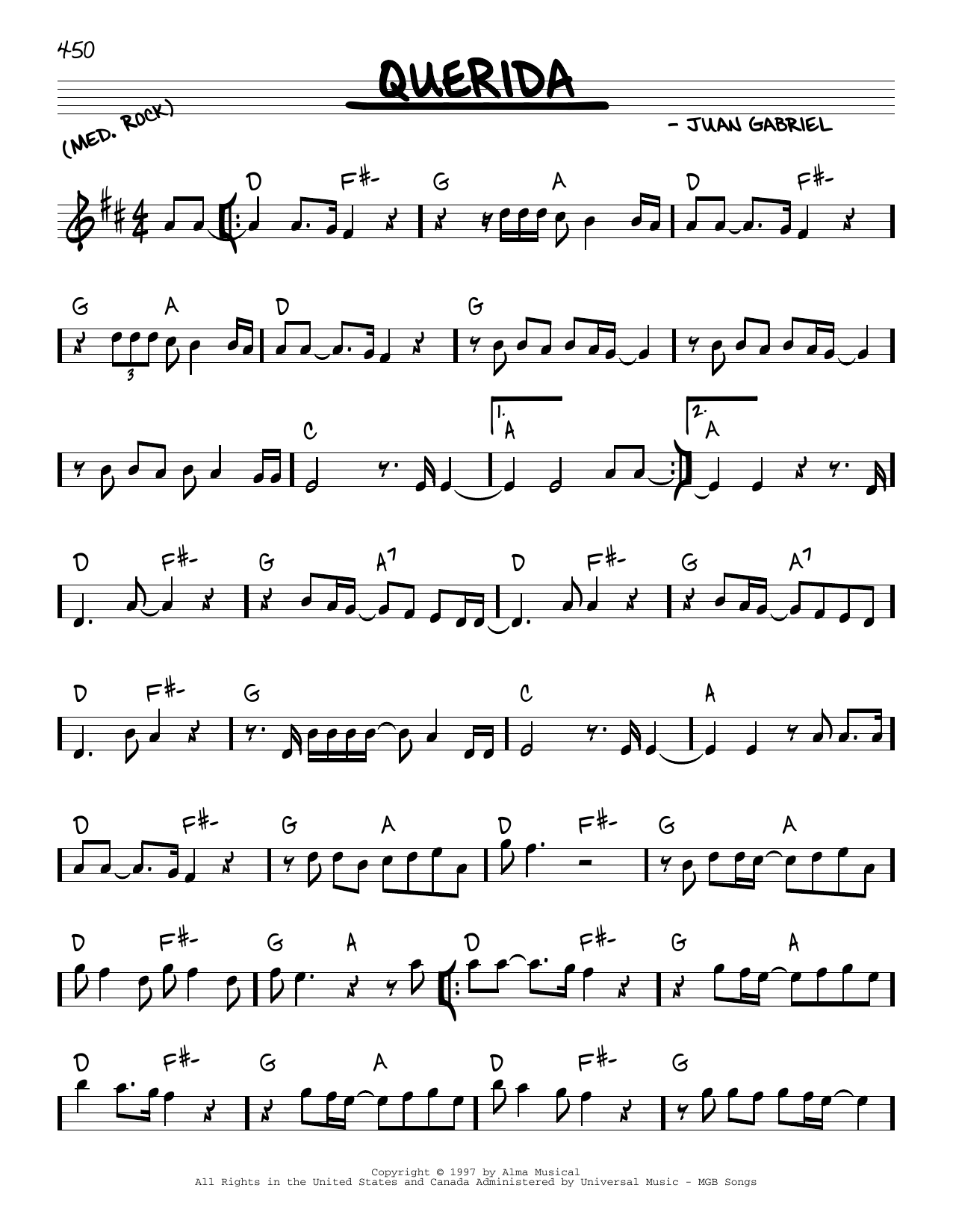 Juan Gabriel Querida sheet music notes and chords. Download Printable PDF.
