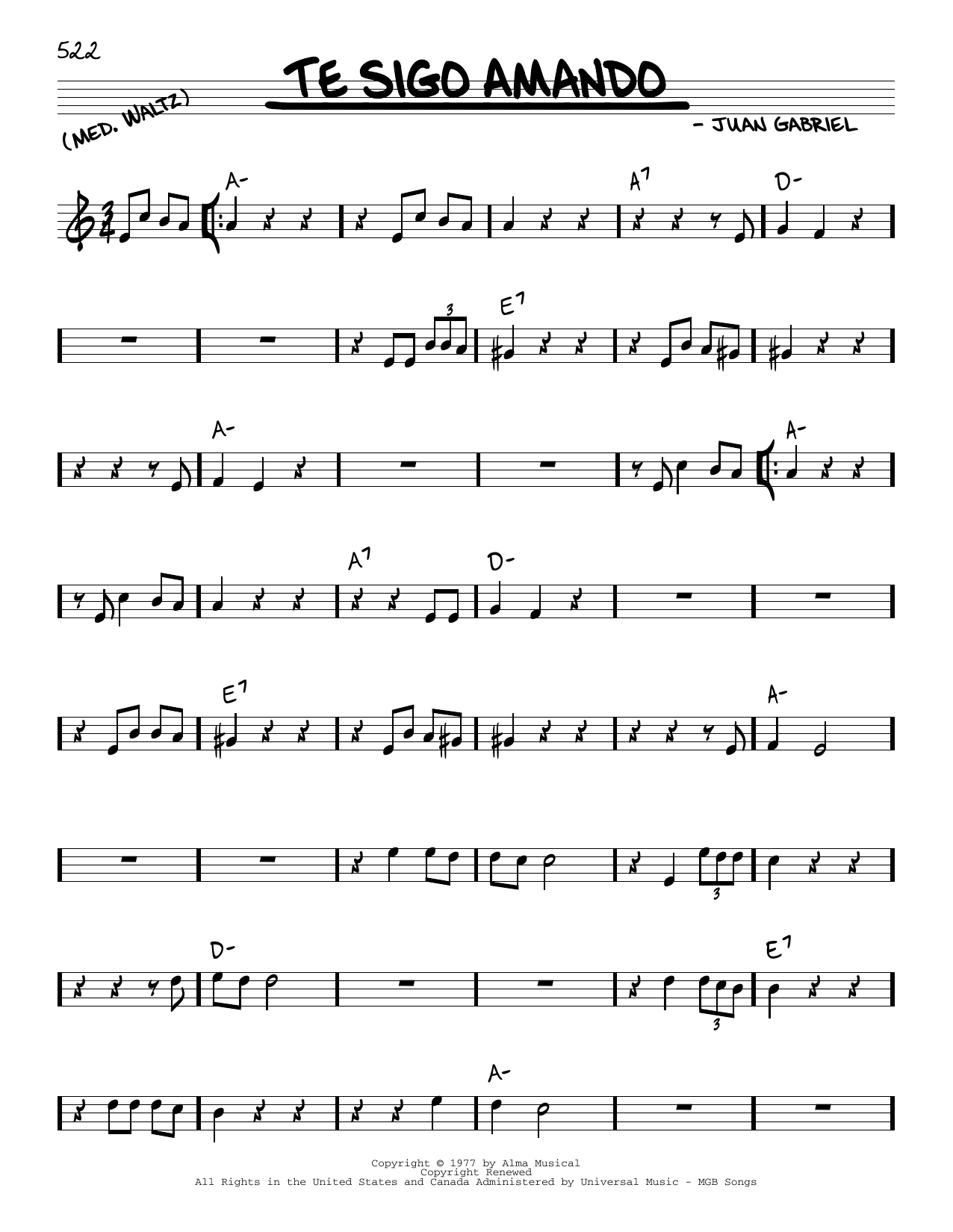 Juan Gabriel Te sigo Amando sheet music notes and chords. Download Printable PDF.