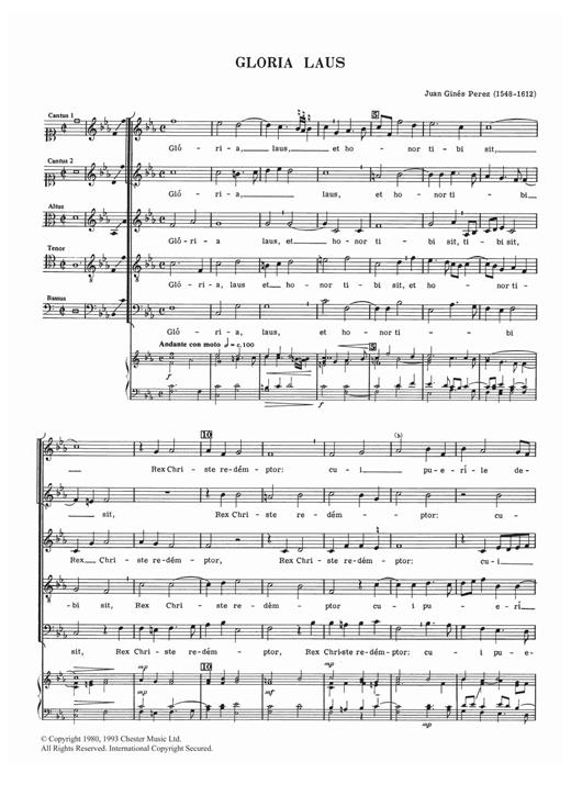 Juan Ginéz Perez Gloria Laus sheet music notes and chords