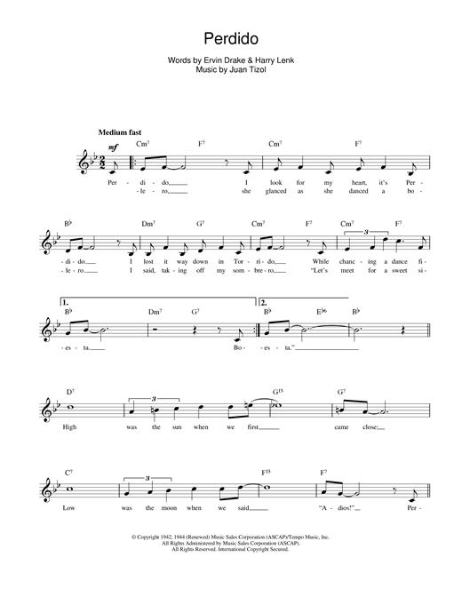 Juan Tizol Perdido sheet music notes and chords