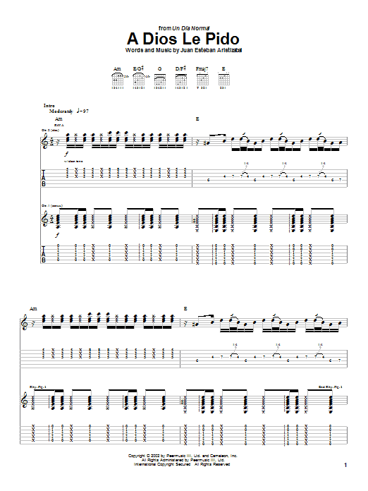 Juanes A Dios Le Pido sheet music notes and chords. Download Printable PDF.