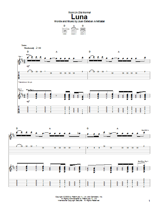 Juanes Luna sheet music notes and chords. Download Printable PDF.