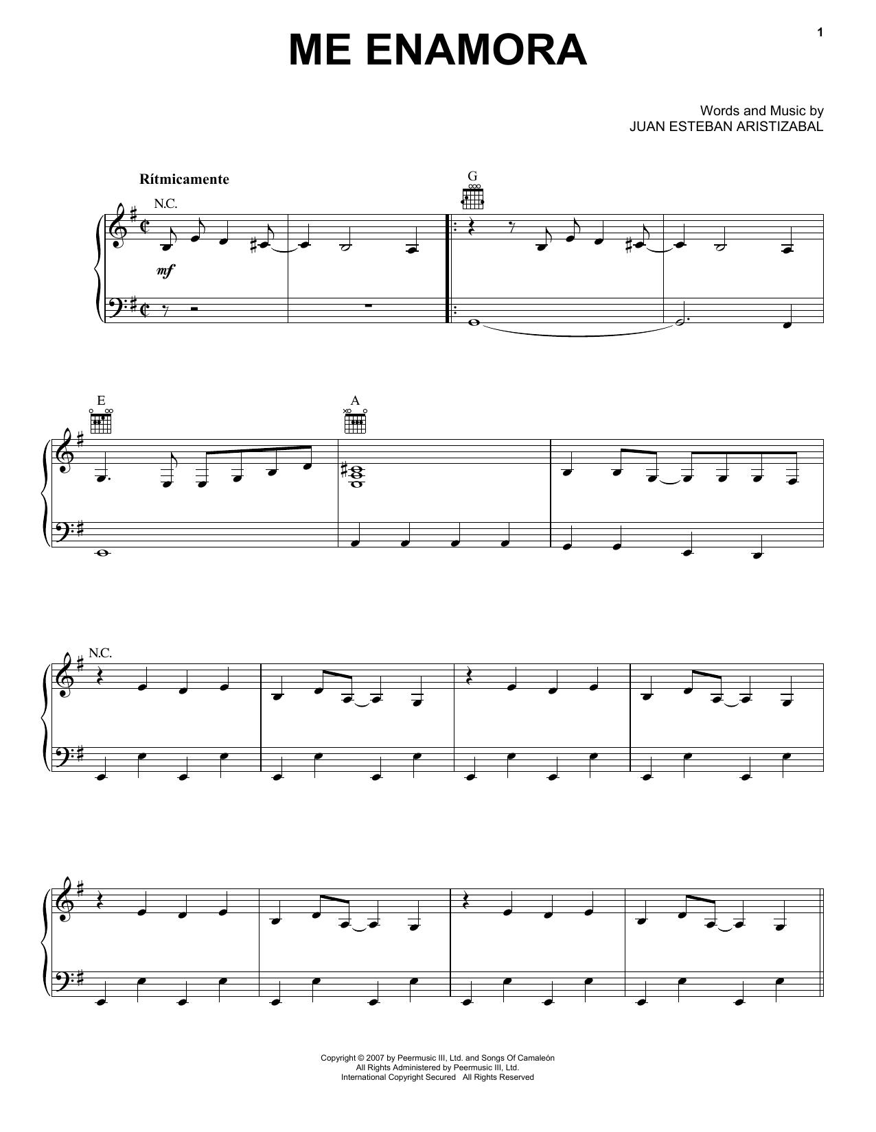 Juanes Me Enamora sheet music notes and chords