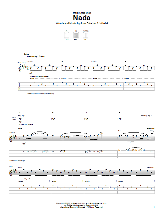 Juanes Nada sheet music notes and chords