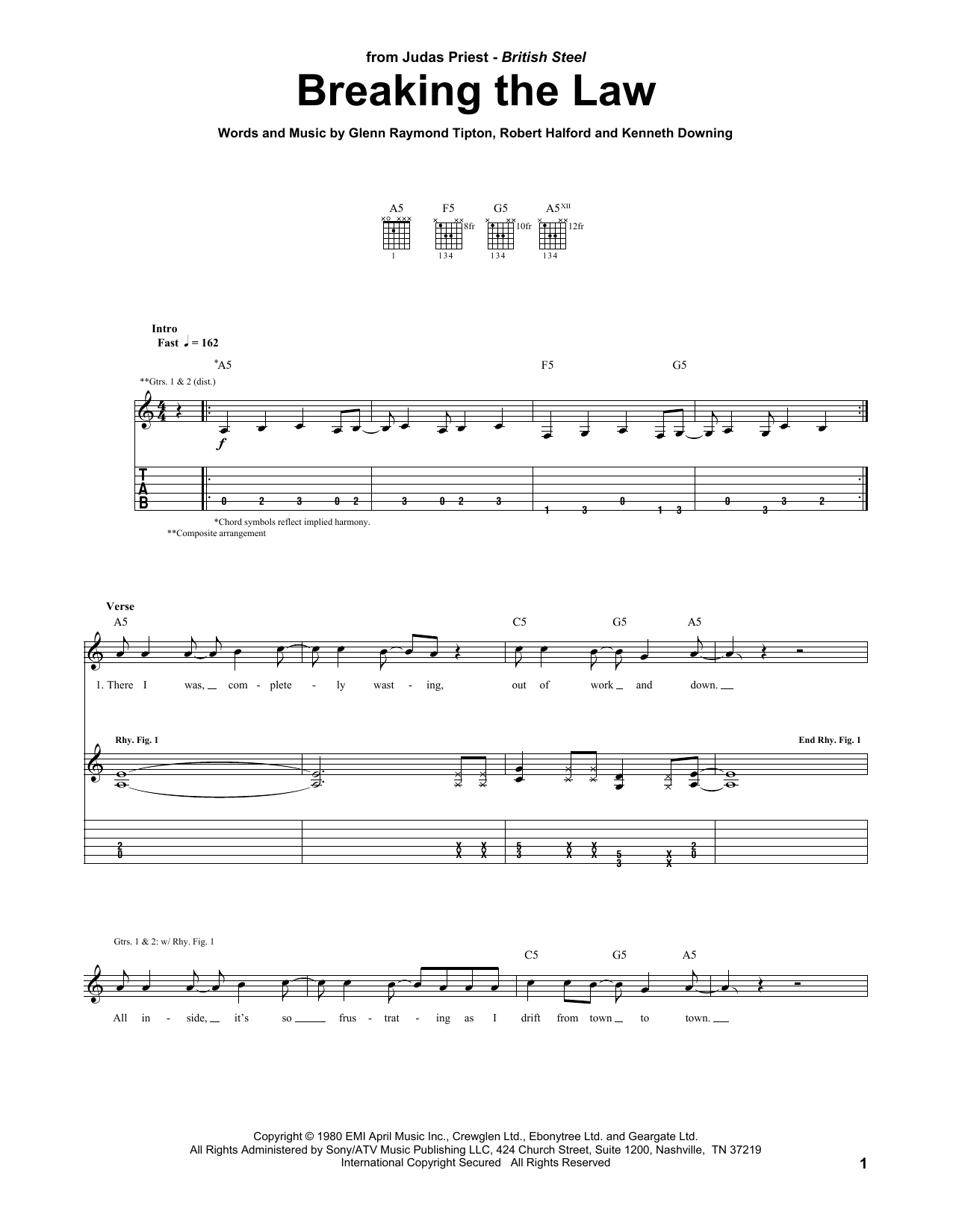 Judas Priest Breaking The Law sheet music notes and chords. Download Printable PDF.