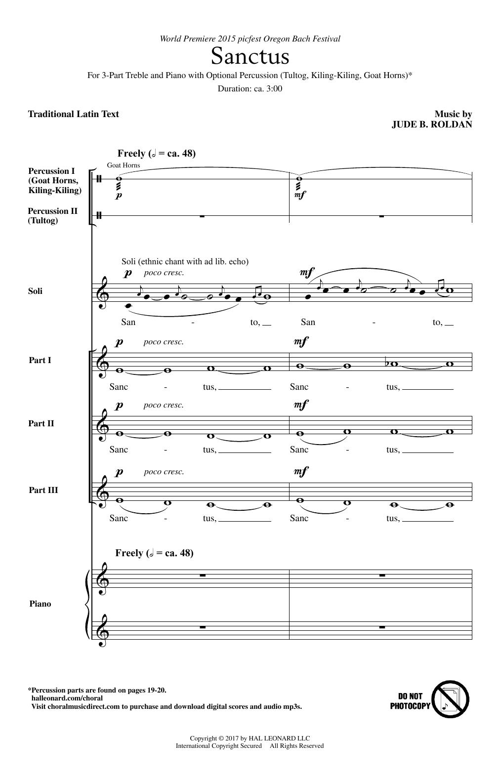 Jude B. Roldan Sanctus sheet music notes and chords. Download Printable PDF.