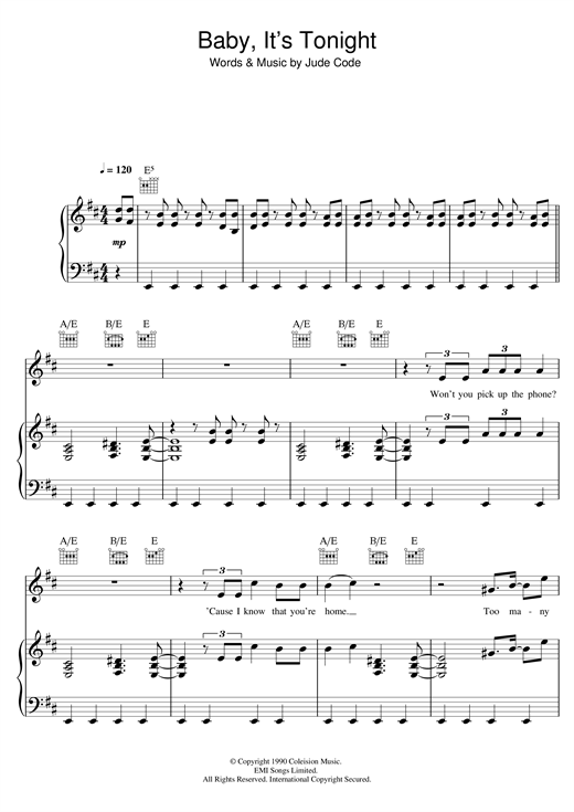 Jude Cole Baby, It's Tonight sheet music notes and chords. Download Printable PDF.