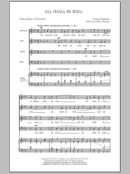 Judith Clurman All Shall Be Well sheet music notes and chords. Download Printable PDF.