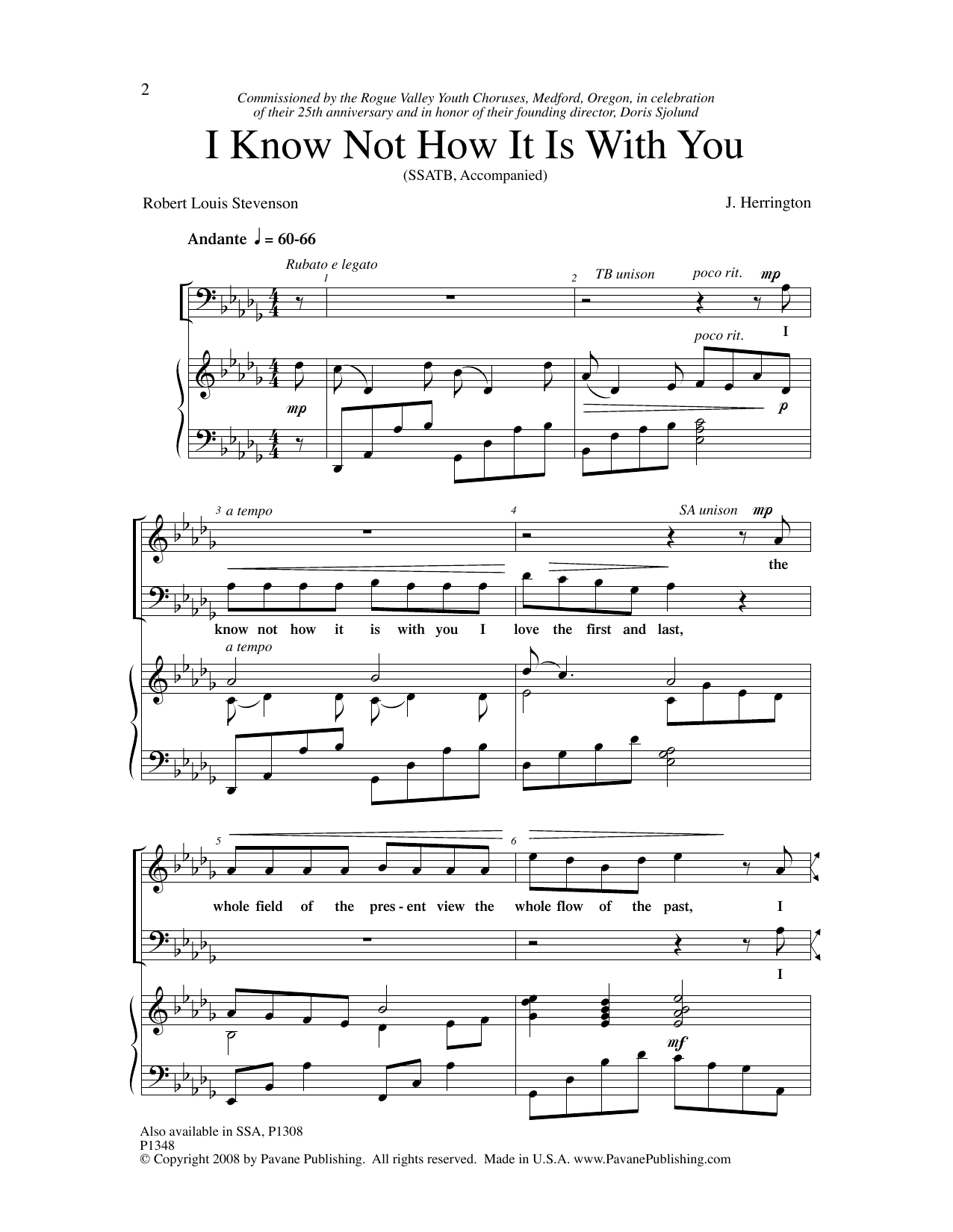 Judith Herrington I Know Not How It Is With You sheet music notes and chords. Download Printable PDF.