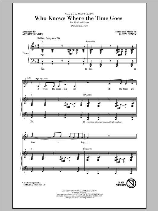 Judy Collins Who Knows Where The Time Goes (arr. Audrey Snyder) sheet music notes and chords. Download Printable PDF.