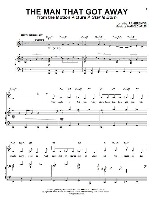 Judy Garland The Man That Got Away sheet music notes and chords. Download Printable PDF.
