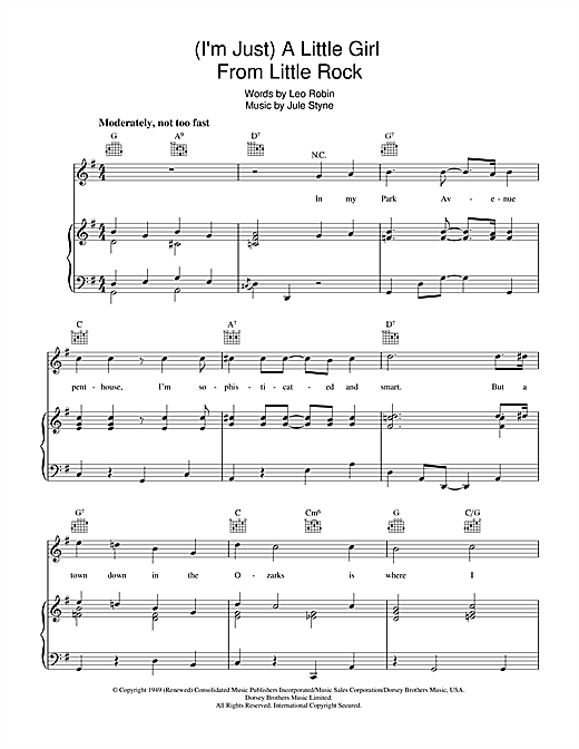 Jule Styne A Little Girl From Little Rock sheet music notes and chords. Download Printable PDF.