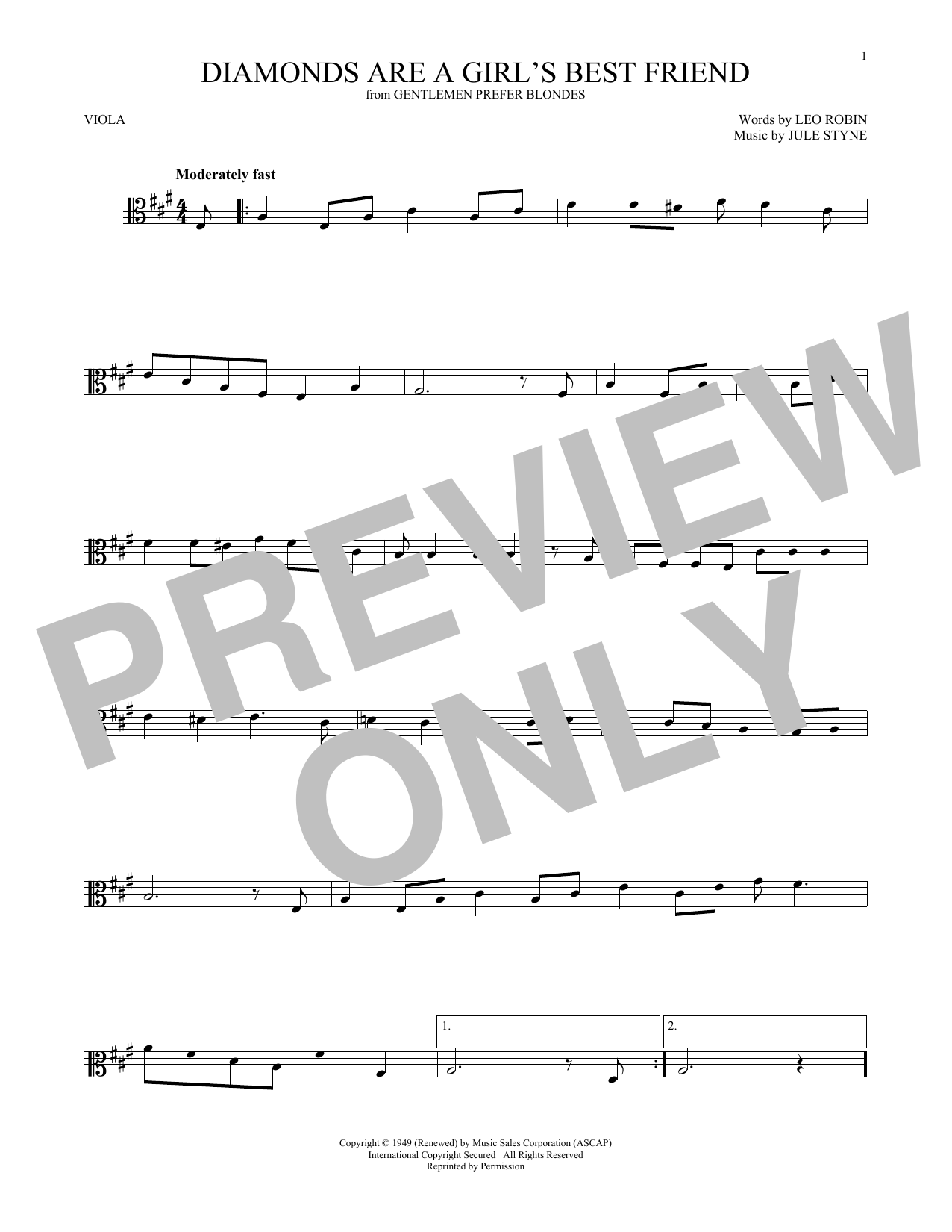 Jule Styne Diamonds Are A Girl's Best Friend sheet music notes and chords. Download Printable PDF.