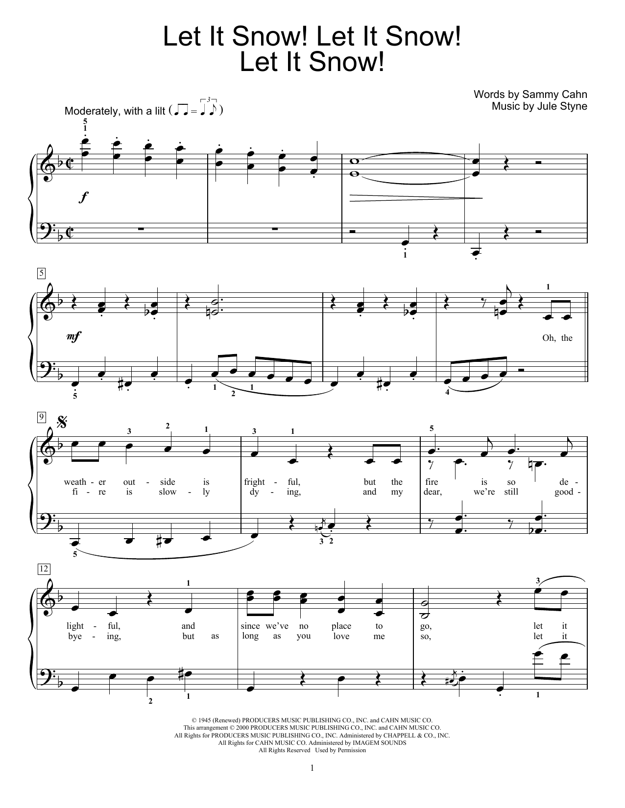 Jule Styne Let It Snow! Let It Snow! Let It Snow! sheet music notes and chords