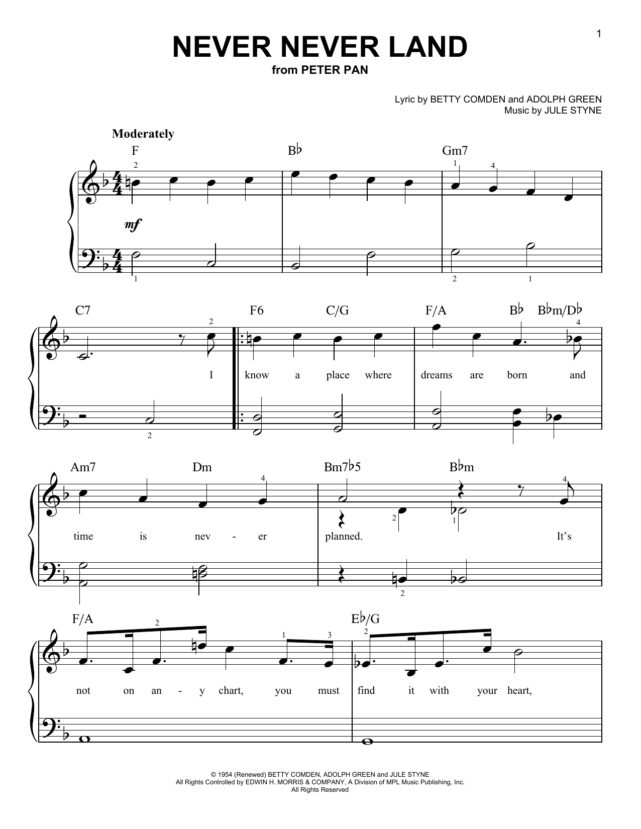 Jule Styne Never Never Land sheet music notes and chords