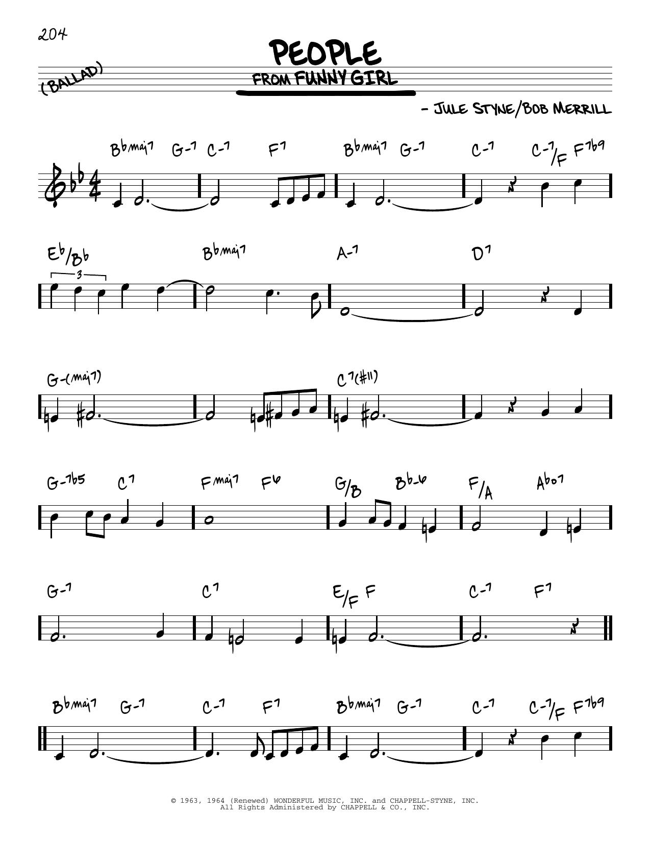 Jule Styne People sheet music notes and chords. Download Printable PDF.