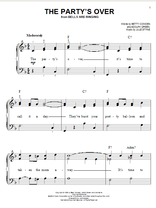 Jule Styne The Party's Over sheet music notes and chords. Download Printable PDF.