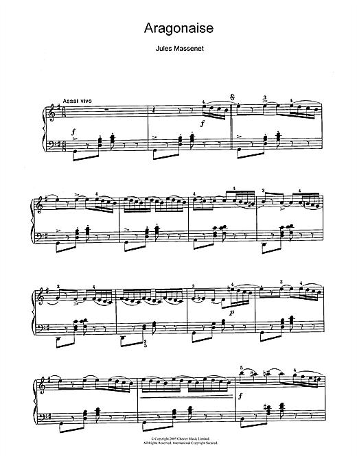 Jules Massenet Aragonaise sheet music notes and chords. Download Printable PDF.
