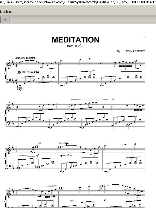 Jules Massenet Meditation sheet music notes and chords