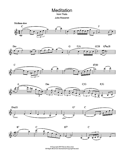 Jules Massenet Meditation (from Thais) sheet music notes and chords