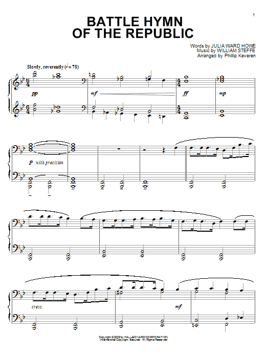 Julia Ward Howe Battle Hymn Of The Republic (arr. Phillip Keveren) sheet music notes and chords. Download Printable PDF.
