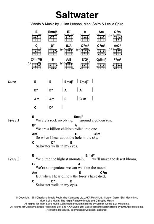 Julian Lennon Saltwater sheet music notes and chords. Download Printable PDF.