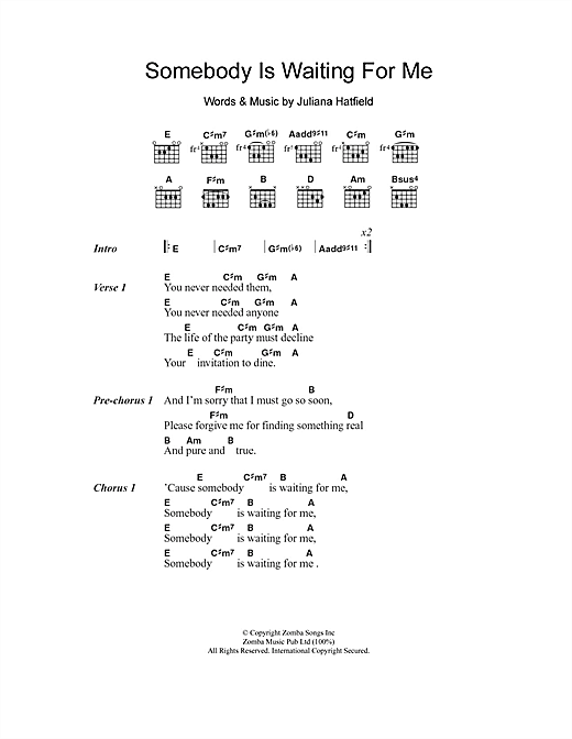 Juliana Hatfield Somebody Is Waiting For Me sheet music notes and chords. Download Printable PDF.