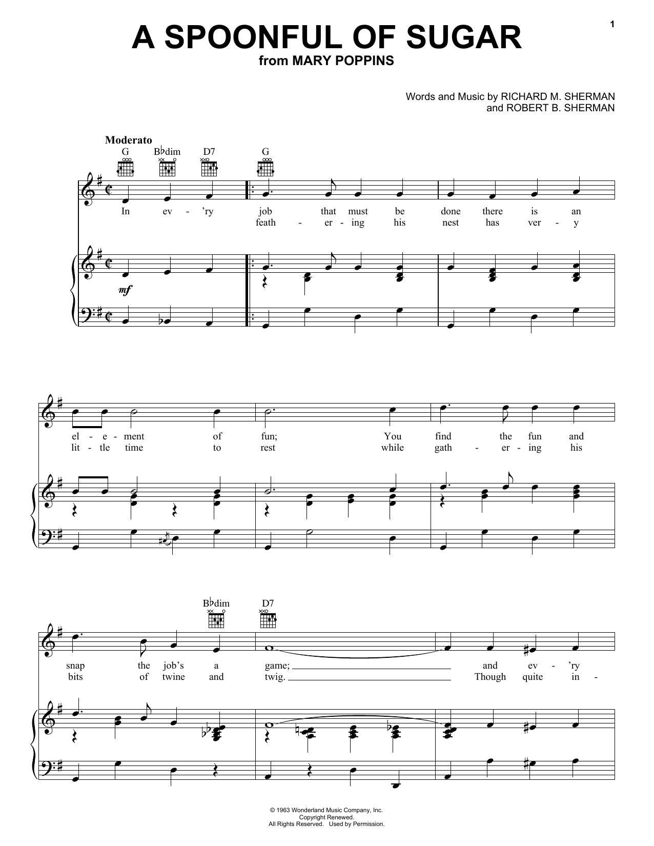 Julie Andrews A Spoonful Of Sugar sheet music notes and chords. Download Printable PDF.