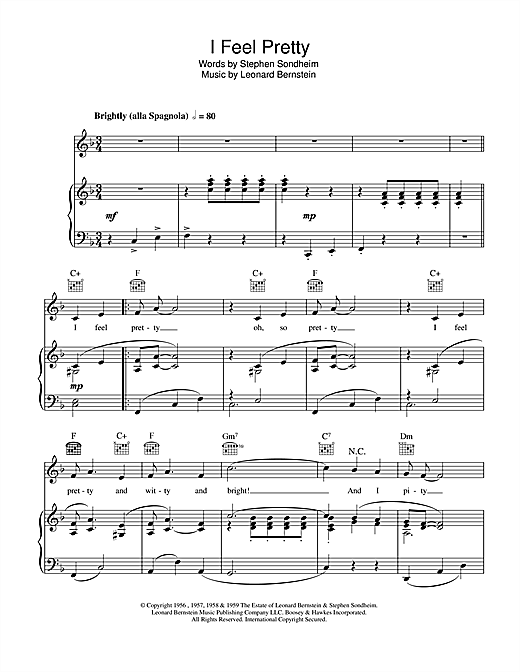 Julie Andrews I Feel Pretty sheet music notes and chords. Download Printable PDF.
