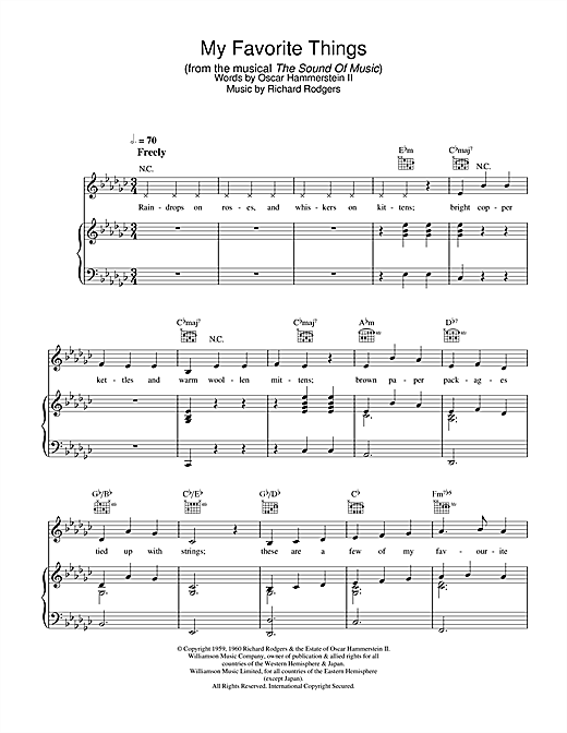 Julie Andrews My Favorite Things (from The Sound Of Music) sheet music notes and chords. Download Printable PDF.