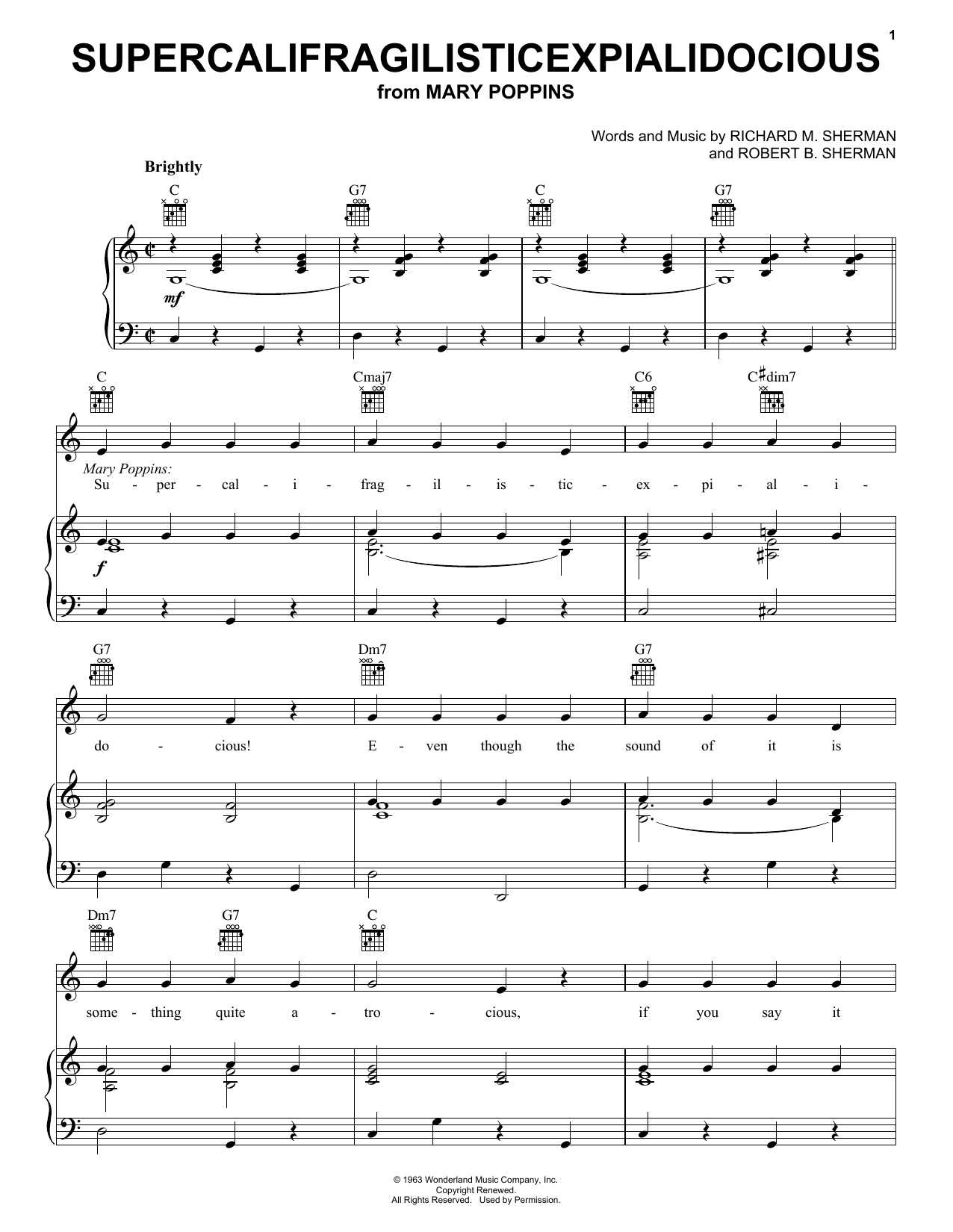 Julie Andrews Supercalifragilisticexpialidocious sheet music notes and chords. Download Printable PDF.