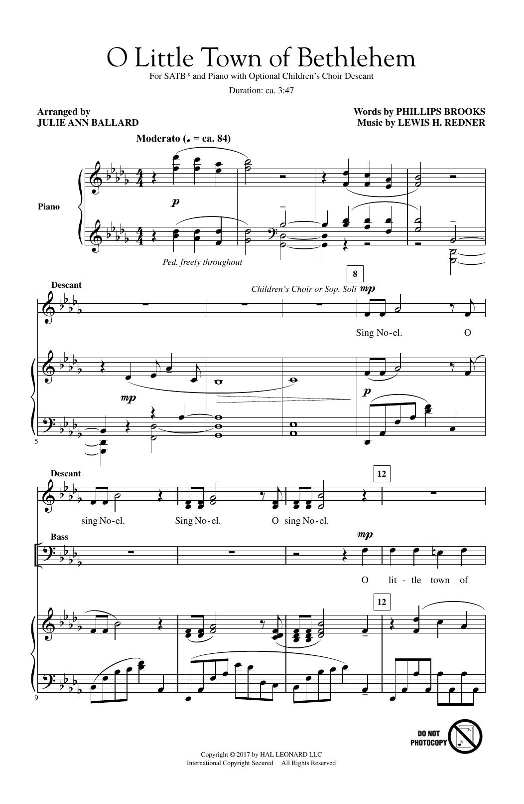 Julie Ann Ballard O Little Town Of Bethlehem sheet music notes and chords. Download Printable PDF.